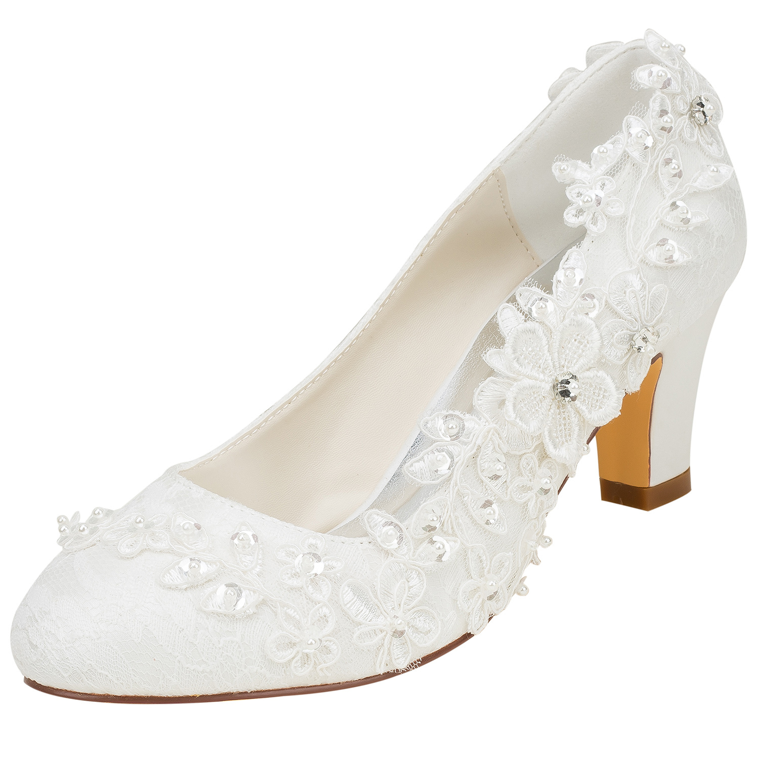 c5feef205437b Ivory Wedding Shoes Silk Round Toe Flowers Beaded Low Heel Bridal Pumps