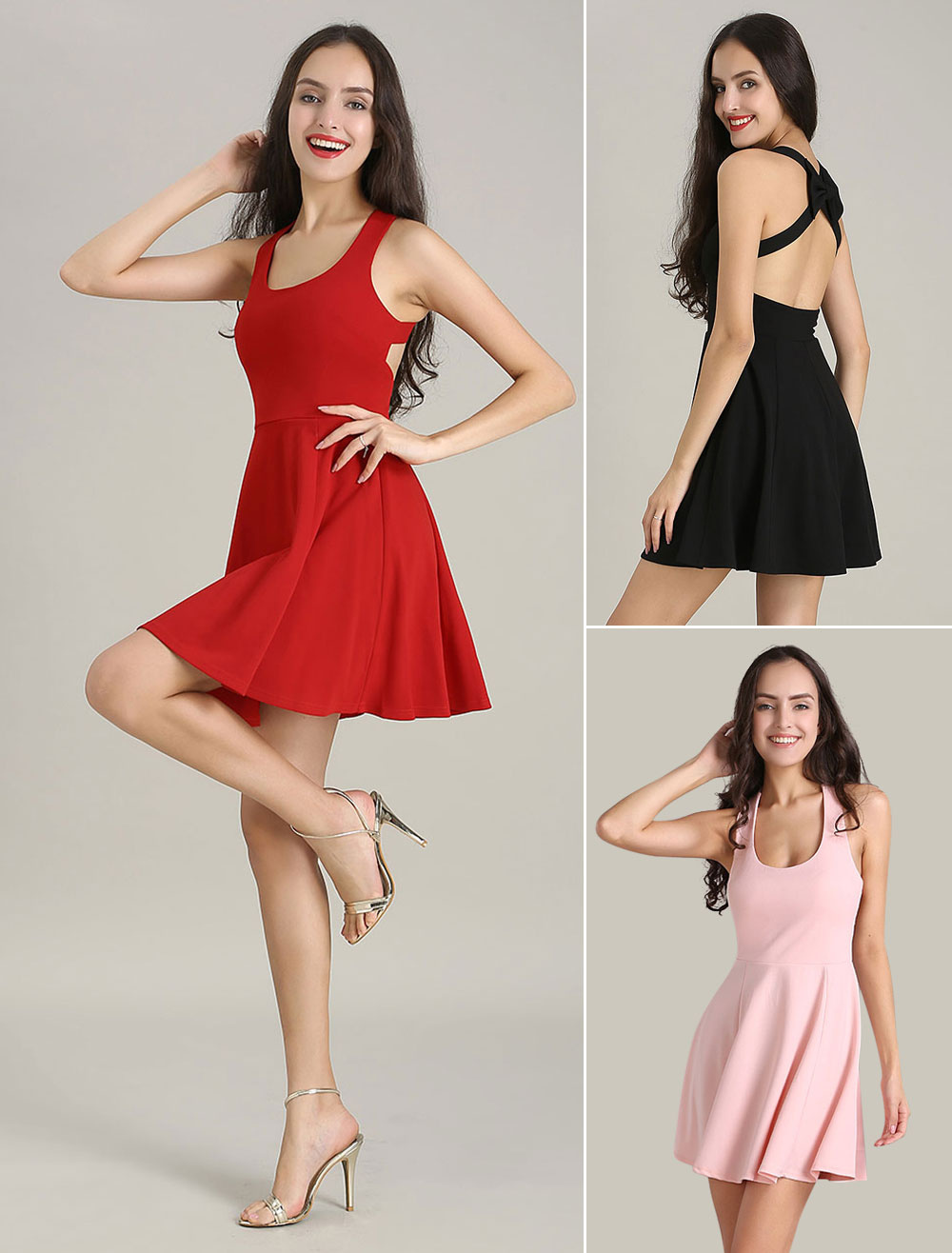 Pink Skater Dress U Neck Elastic Summer Dress With Backless Bow Design March 2018. New collection, free shipping.