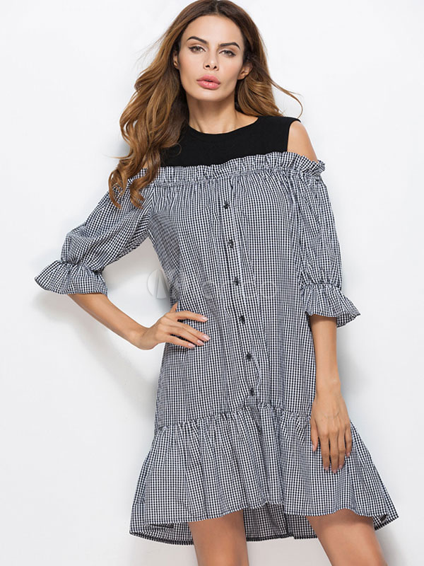 Buy Black Shift Dress Women's Round Neck Bell Half Sleeve Cold Shoulder Plaid Cotton Dress for $23.74 in Milanoo store
