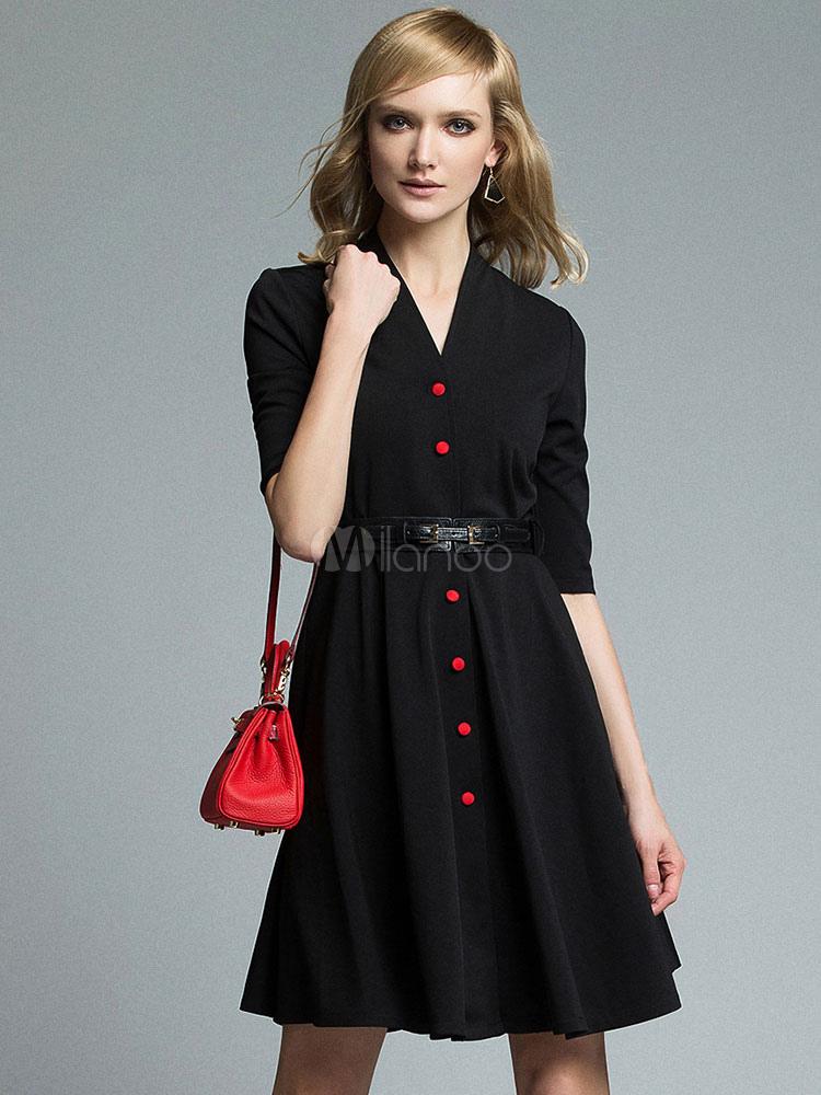free shipping 98d36 ac363 Vestito da festa nero con scollo a V mezze maniche bottoni in pelle donna  fuori ricevimento