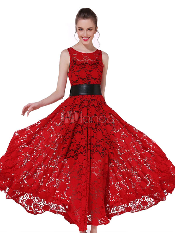 Buy Burgundy Lace Dress Round Neck Sleeveless Pleated Long Flare Dress With Belt for $53.99 in Milanoo store