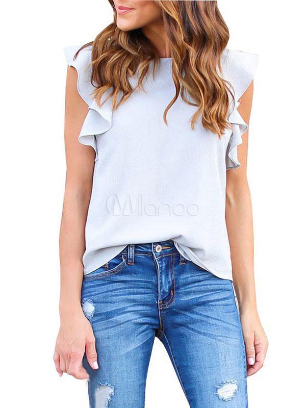Buy Chiffon White Blouses Sleeveless Ruffles Women's Summer Tops for $23.74 in Milanoo store
