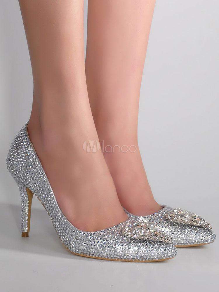 4df1f5ef ... Zapatos de novia de cuero auténtico plateados con pedrería de lujo-No.2