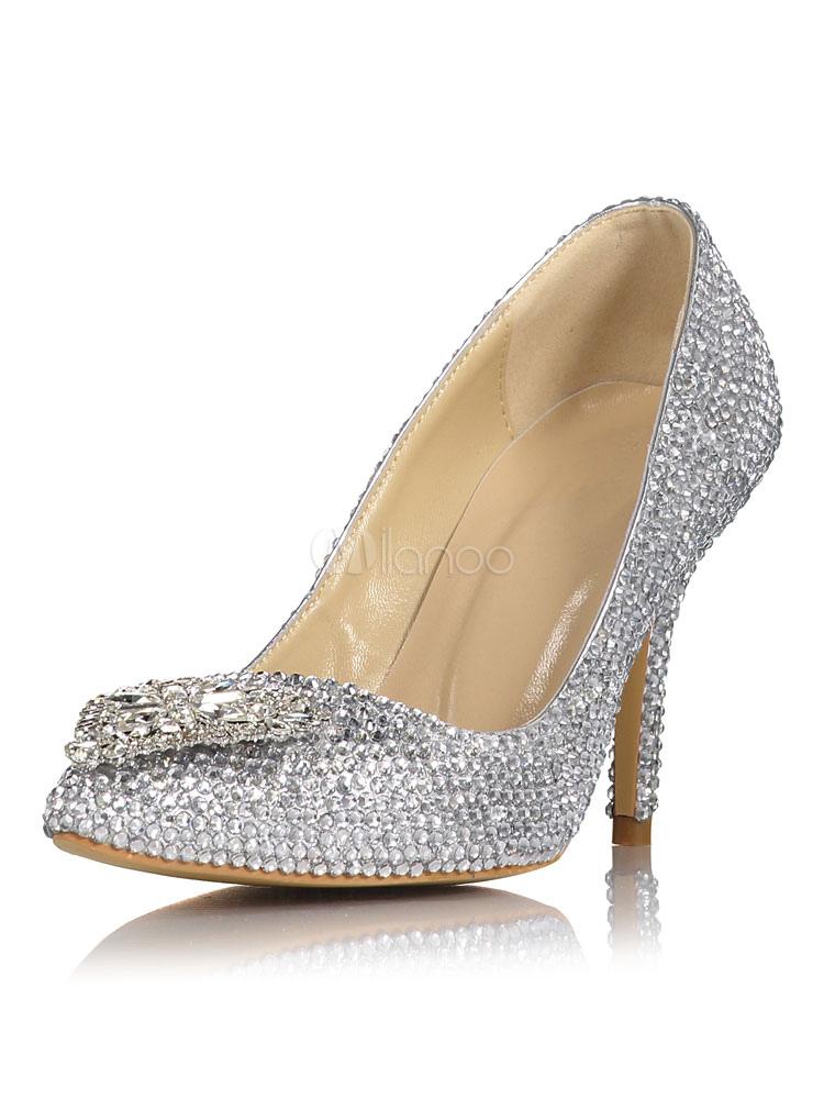 Zapatos de novia plateados de cuero auténtico con pedrería de lujo QEbewA