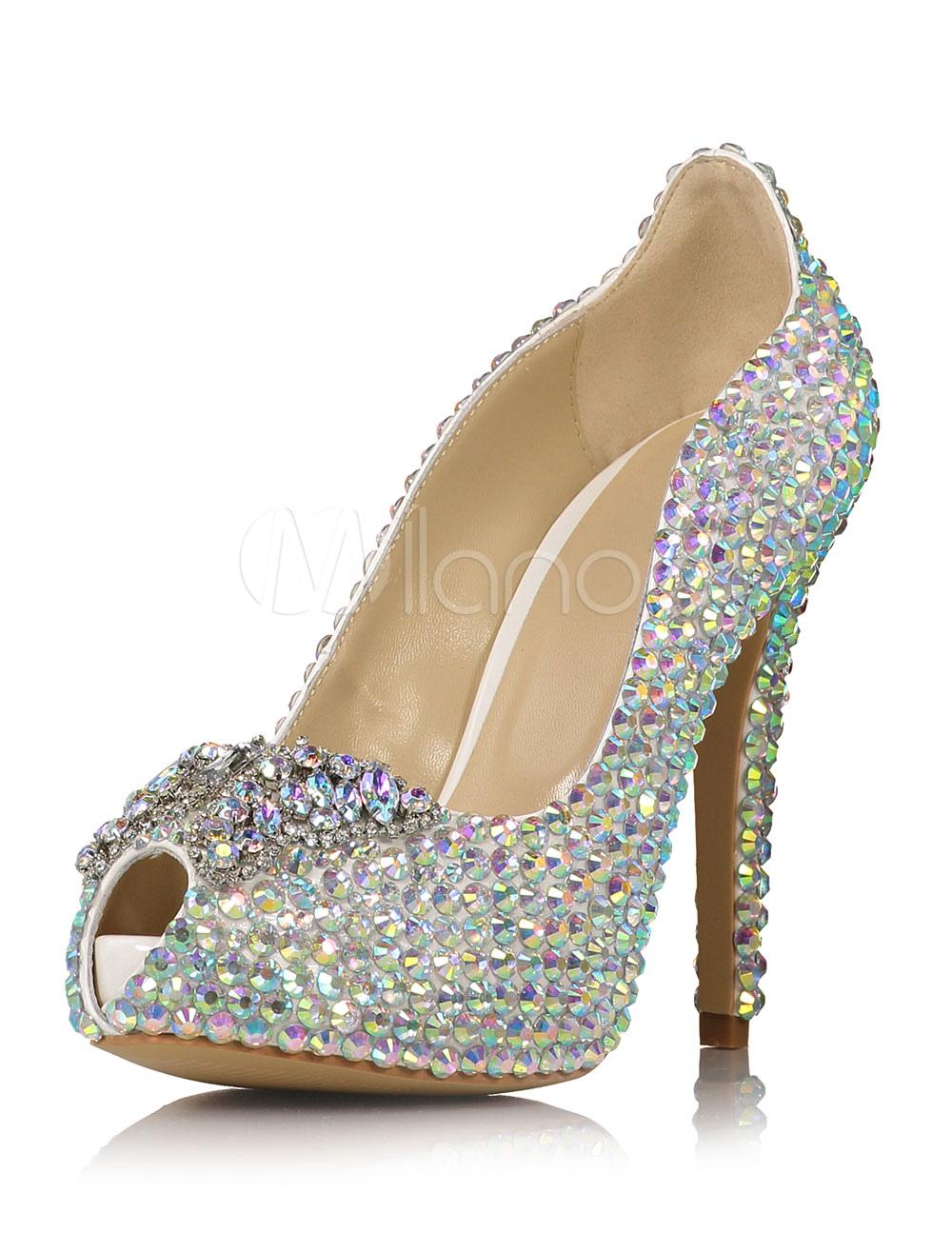 Zapatos con plataforma para novias de cuero auténtico plateados con pedrería de lujo J9TIb