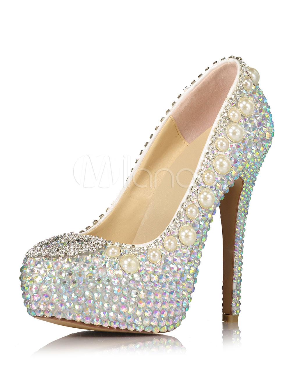 7388207f Zapatos con plataforma para novias de cuero auténtico plateados con ...