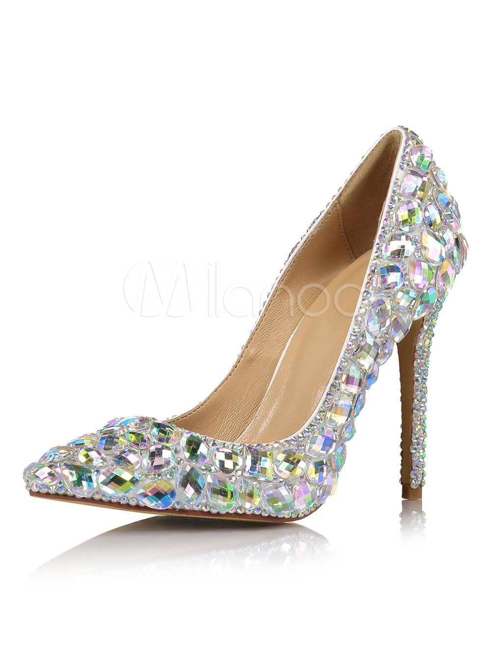 Silver Evening Shoes Pointed Toe Rhinestones Beaded High Heel Pumps