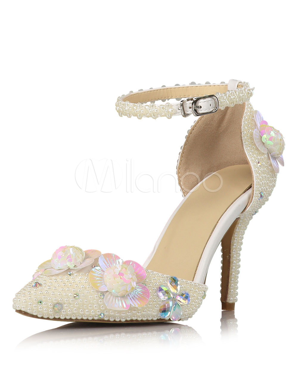 Buy Ivory Wedding Shoes High Heel Pearls Flowers Beaded Ankle Strap Bridal Shoes for $80.99 in Milanoo store