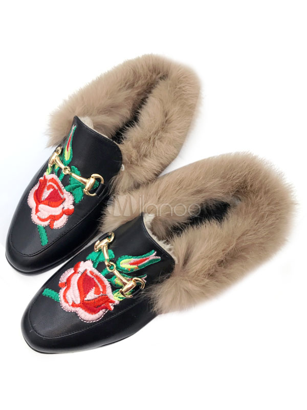 Buy Black Mules Shoes Round Toe Floral Embroidered Fur Detail Slip On Mules for $35.14 in Milanoo store