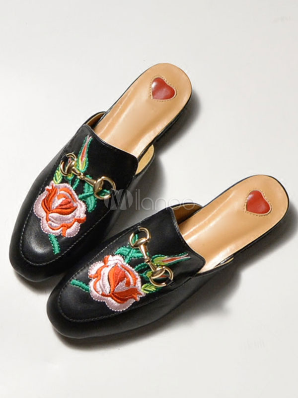 Buy Black Mules Shoes Round Toe Floral Embroidered Metal Detail Slip On Mules for $31.49 in Milanoo store