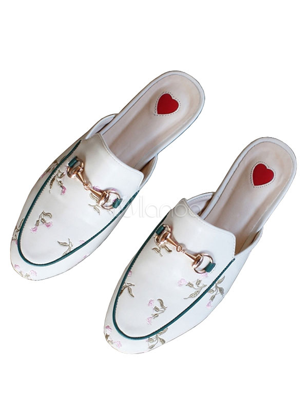 Buy White Mules Shoes Round Toe Embroidered Metal Detail Slip On Mules for $31.49 in Milanoo store