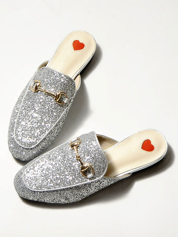 Buy Silver Mule Shoes Sequined Round Toe Metal Detail Slip On Mules for $33.24 in Milanoo store