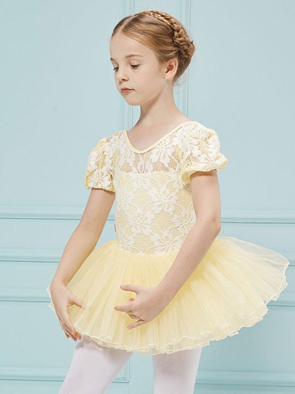 e2a1b1e9a754 Ballet Dance Costumes Yellow V Neck Short Sleeve Slim Fit Ballerina Tutu  Dress For Kids- ...