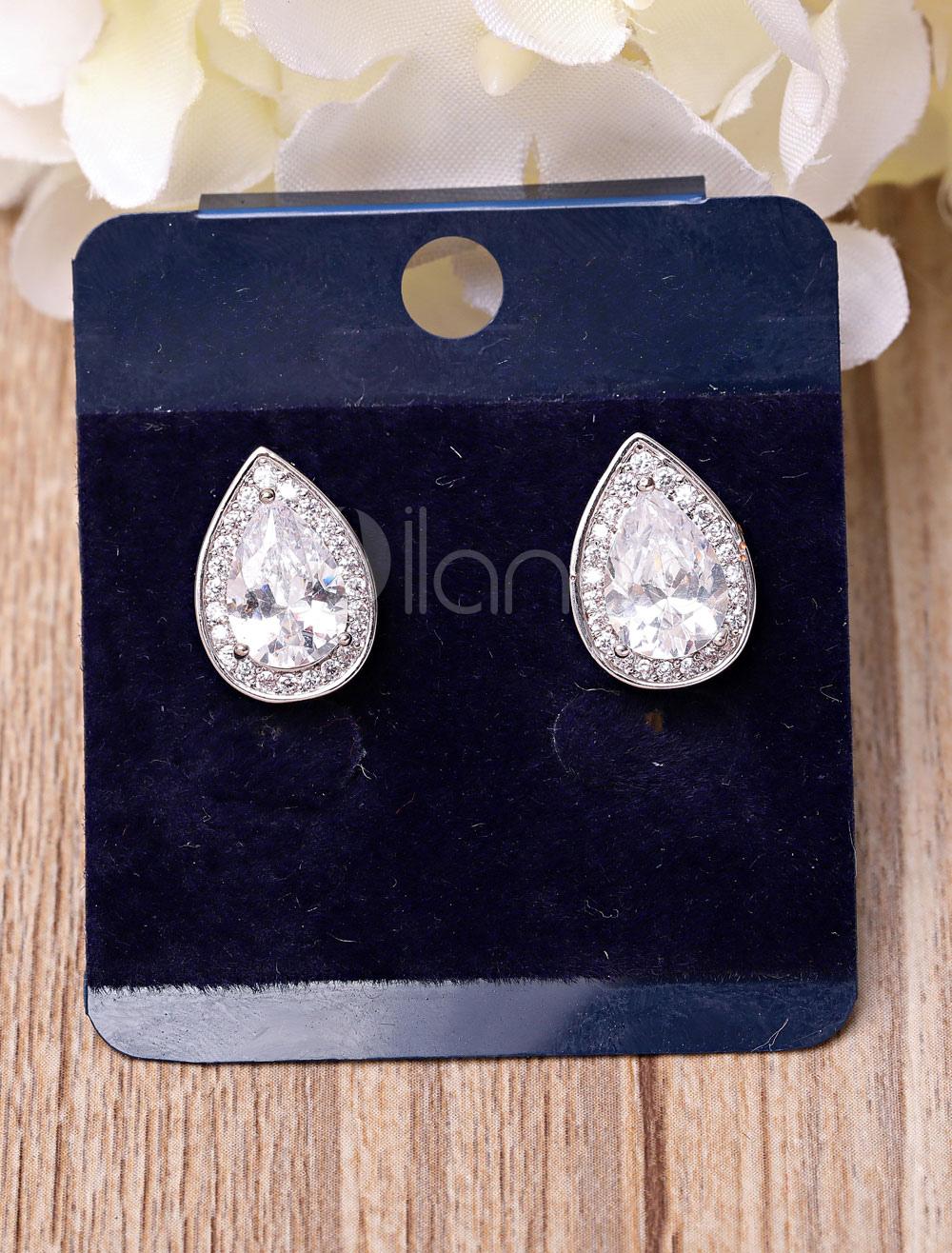 Buy Wedding Vintage Earrings Silver Drop Earring Cubic Zirconia Bridal Jewelry for $12.86 in Milanoo store