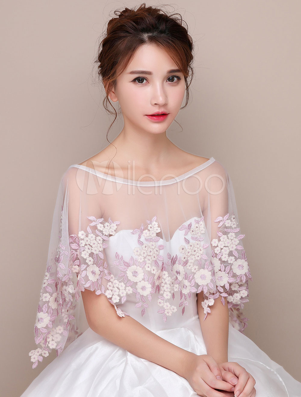 Wedding Poncho Shawl Flowers High Low Capelet Bridal Cover Up