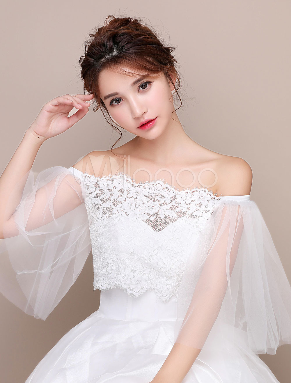 Ivory Wedding Shawl Top Bell Sleeve Off The Shoulder Capelet Lace Tulle Bridal Cover Up