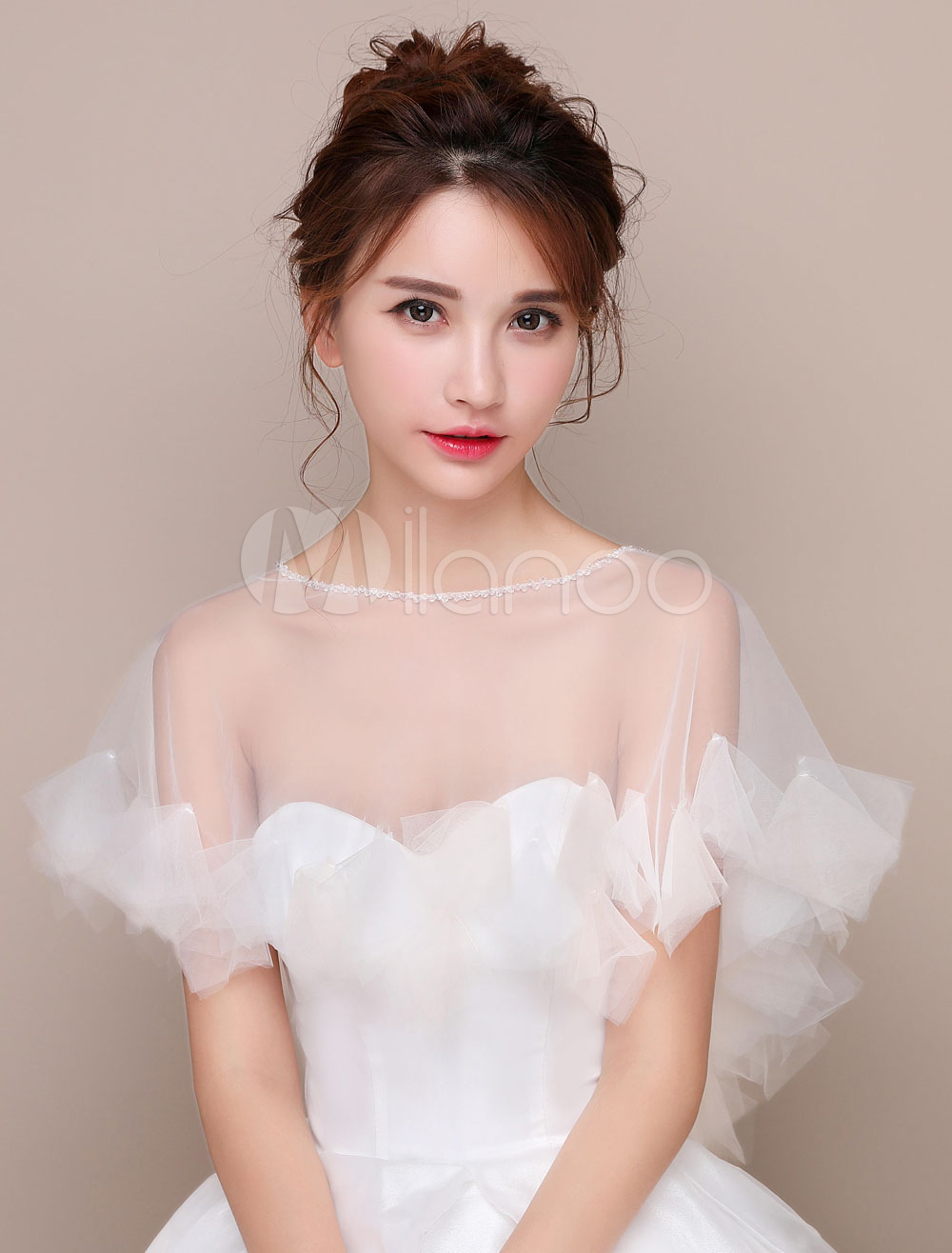 Wedding Poncho Shawl High Low Tulle Capelet Pleated Bridal Cover Up