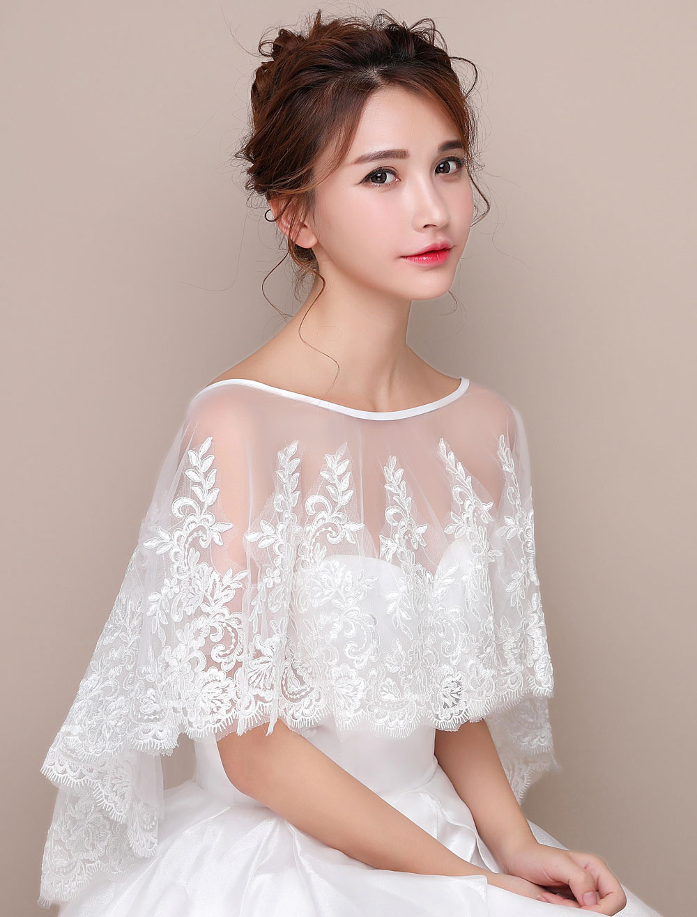 Lace Poncho Shawl High Low Capelet Ivory Bridal Cover Up