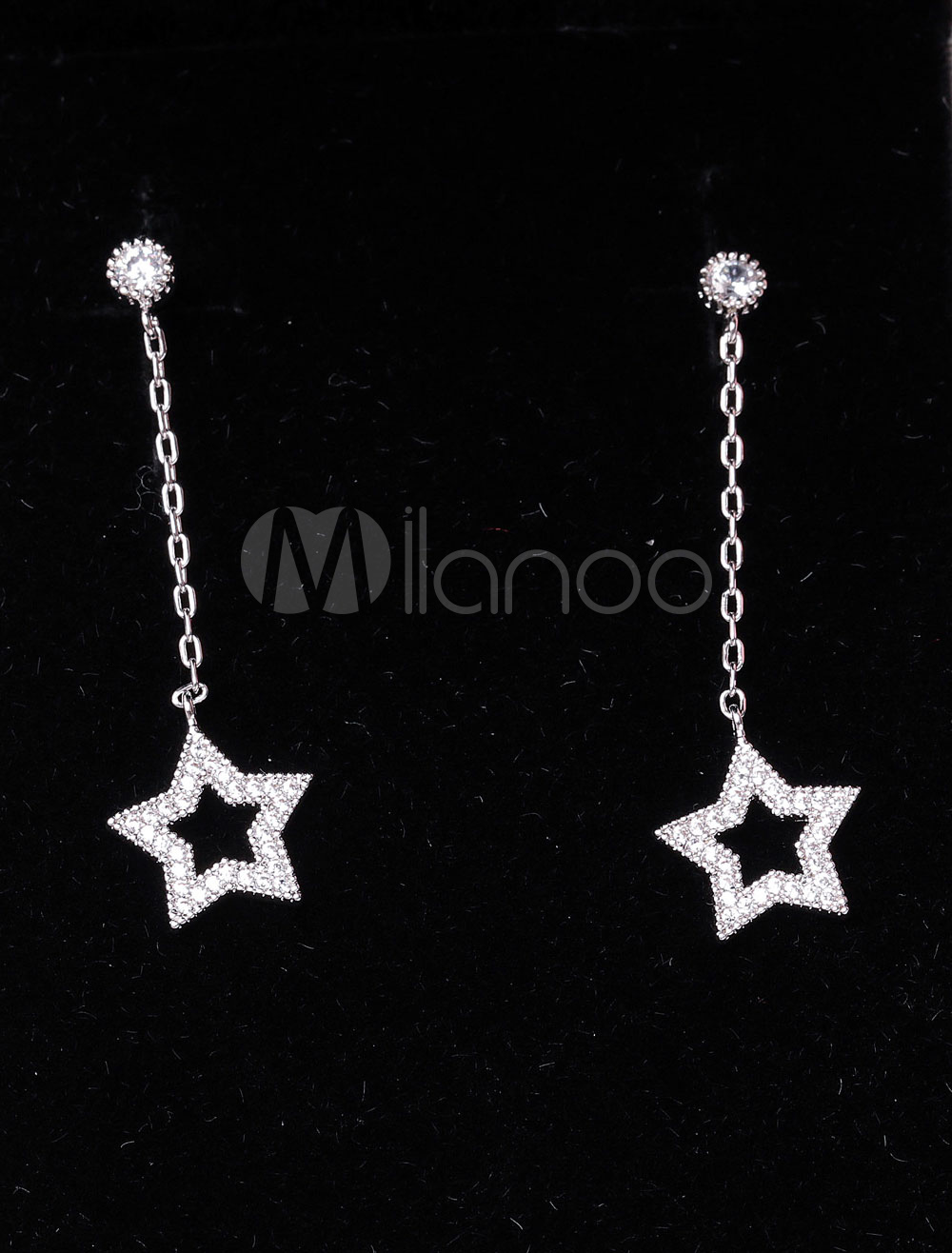 Buy Silver Drop Earrings Wedding Cubic Zirconia Hollow Star Bridal Earrings for $9.89 in Milanoo store