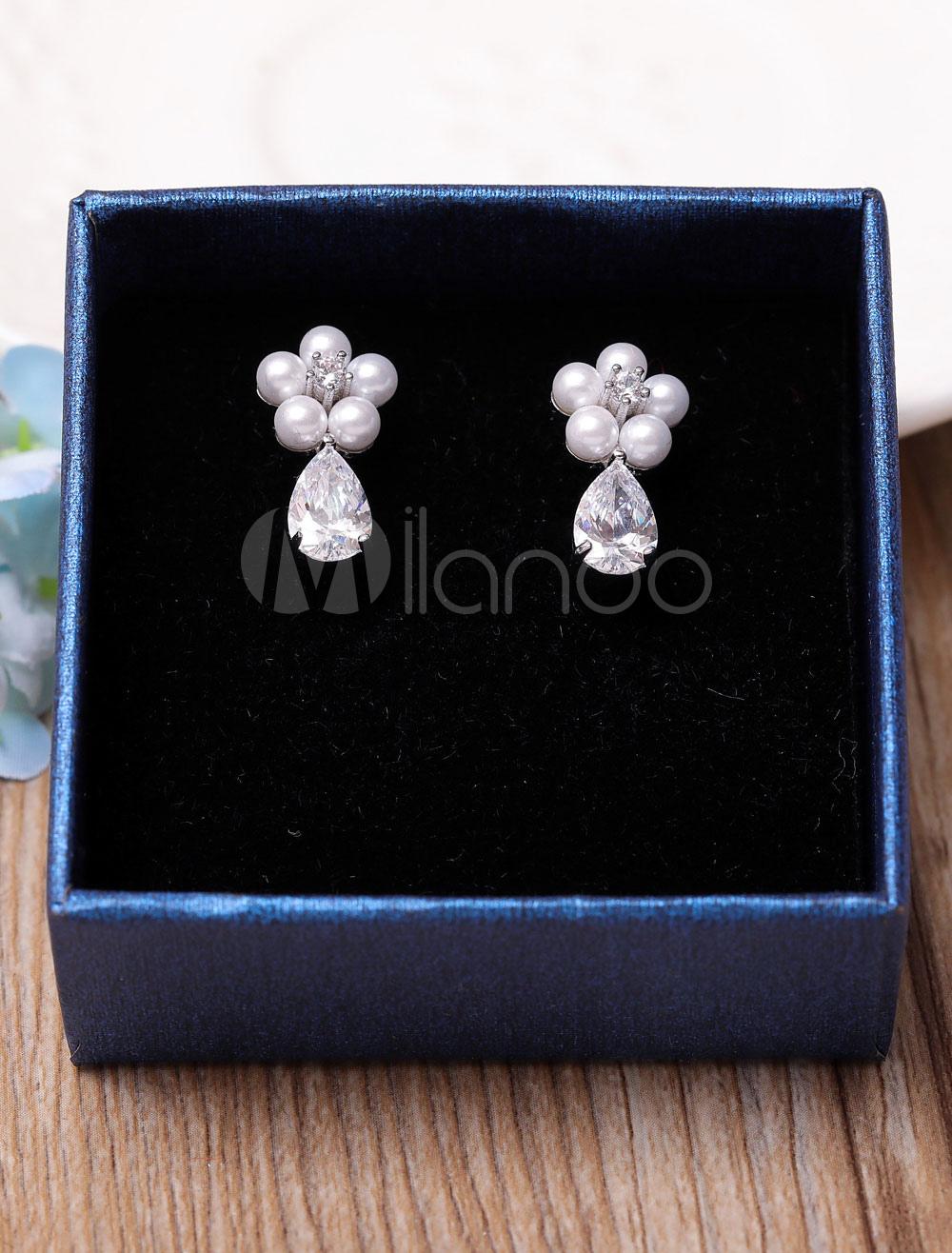 Buy Wedding Pearl Earrings Silver Cubic Zirconia Bridal Clip On Drop Earrings for $5.93 in Milanoo store