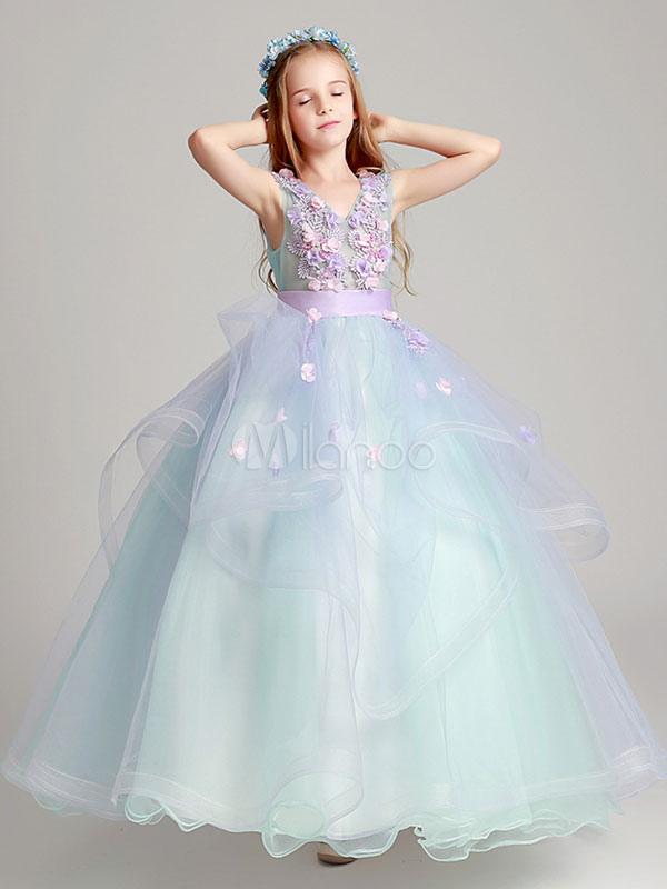 Princess Flower Girl Dresses Organza Applique Soft Pink