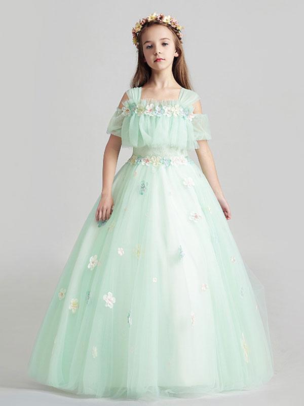 ... Flower Girl Dresses Applique Tulle Floor Length Cold Shoulder Pastel Green  Kids Pageant Dresses-No ... 5483859c2e7e