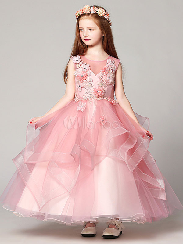 Flower Girl Dresses Ball Gown Organza Floor Length Applique Soft ...
