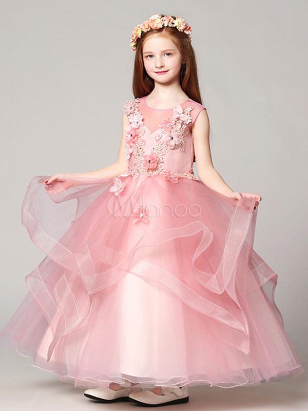 Flower Girl Dresses Ball Gown Organza Floor Length Applique Soft Pink Kids Pageant Dresses