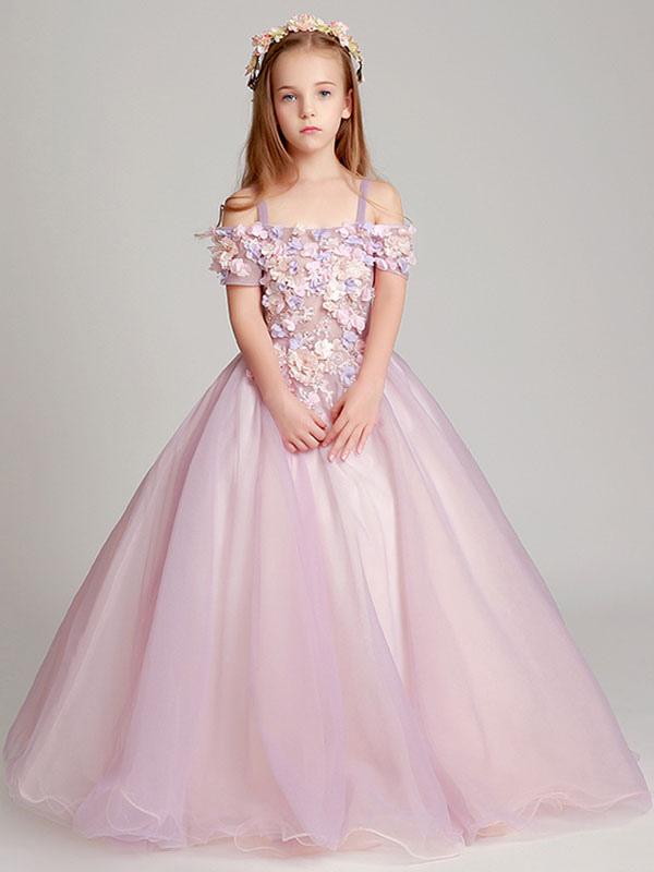 the latest b449a ec5f0 Vestito Damigella bambina Blush Pink Off The Applique Back Illusion Piano  Lunghezza Abiti da spettacolo per bambini