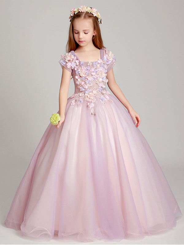 559c3fe71 ... Flower Girl Dresses Blush Pink Off The Shoulder Applique Back Illusion  Floor Length Kids Pageant Dresses ...