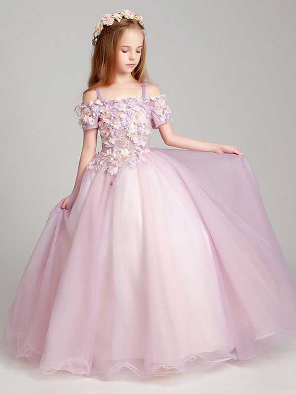 52f57d5a111 Flower Girl Dresses Blush Pink Off The Shoulder Applique Back Illusion  Floor Length Kids Pageant Dresses ...