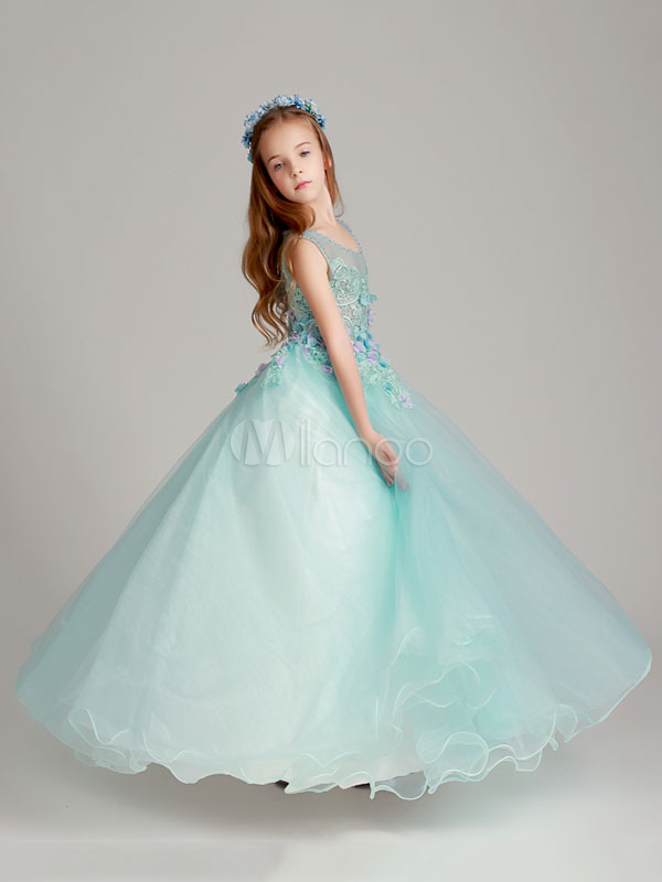 Flower Girl Dresses Princess Floor Length Organza Mint