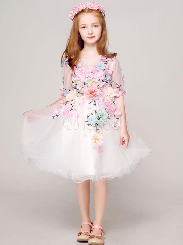 b1c84a1d85fb Flower Girl Dresses White Tutu Dress Half Sleeve Applique Knee Length Kids  Pageant Dresses-No ...
