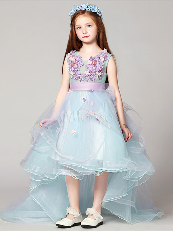 65e701588bdc Flower Girl Dresses High Low Applique Sash Organza V Neck Pastel Blue Kids  Pageant Dresses With ...