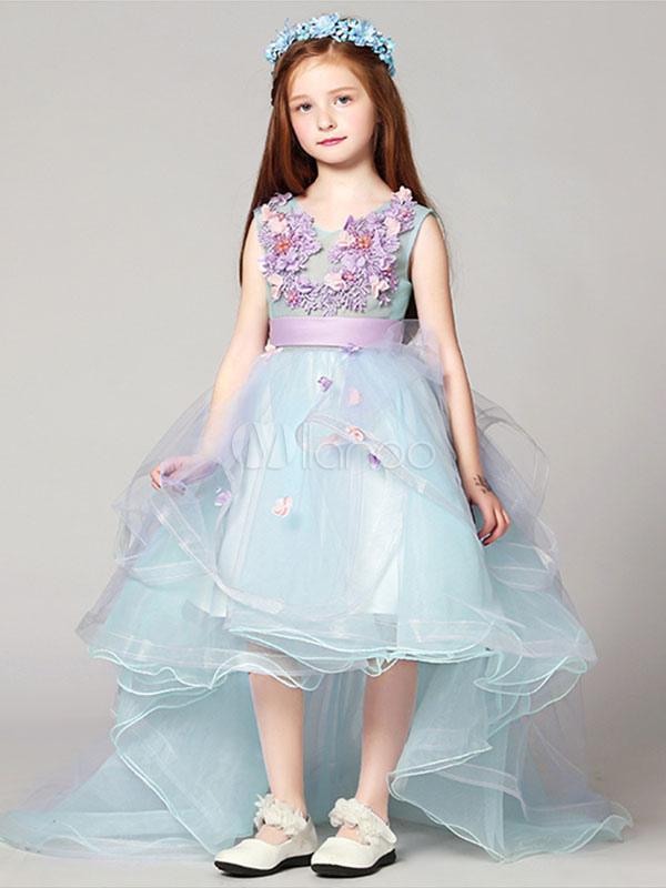 Flower Girl Dresses High Low Applique Sash Organza V Neck Pastel Blue Kids Pageant Dresses With Train