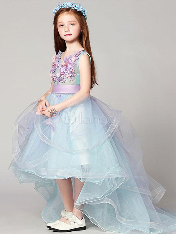 18679bff3 ... Flower Girl Dresses High Low Applique Sash Organza V Neck Pastel Blue  Kids Pageant Dresses With ...