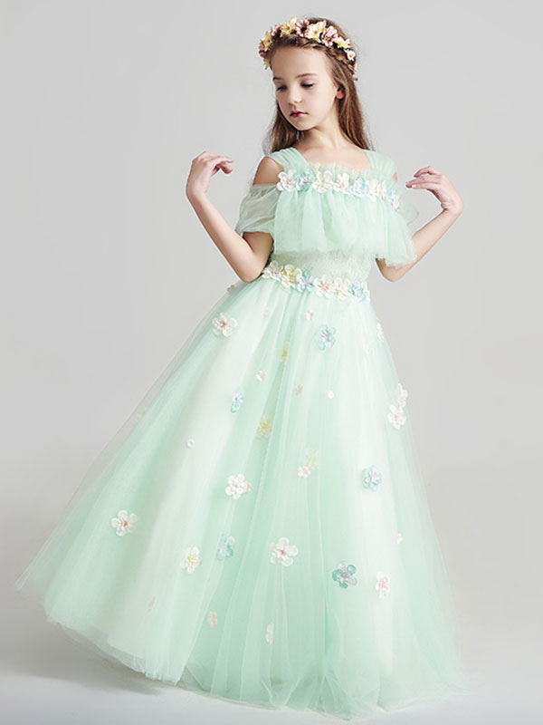 4275646fb1c Flower Girl Dresses Applique Tulle Floor Length Cold Shoulder Pastel Green  Kids Pageant Dresses-No ...