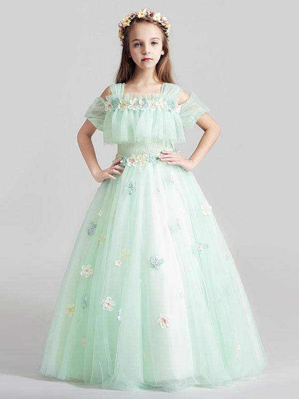 Flower Dresses Lique Tulle Floor Length Cold Shoulder Pastel Green Kids Pageant No