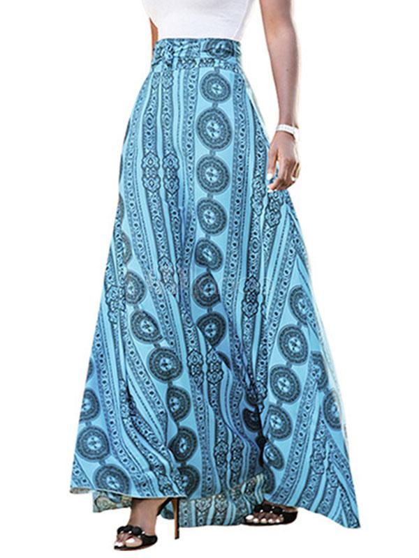 Boho Blue Skirt Women's 3D Printed Lace Up Maxi Skirt