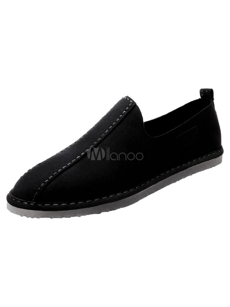 Grey Casual Shoes Men's Round Toe Breathable Slip On Shoes
