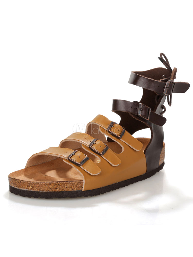 Buy Brown Flat Sandals Men's Open Toe Buckle Detail Strappy Sandals for $35.14 in Milanoo store