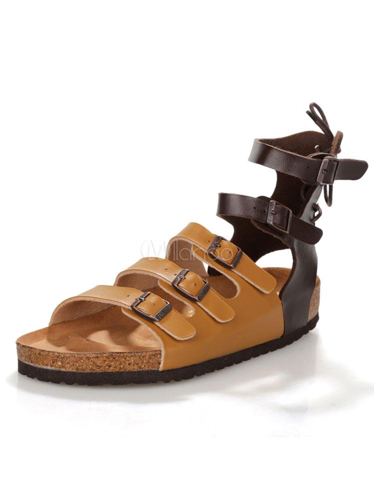 Brown Flat Sandals Men's Open Toe Buckle Detail Strappy Sandals