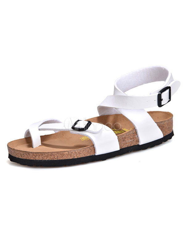 White Flat Sandals Men's Toe Loop Buckle Detail Strappy Sandal Shoes