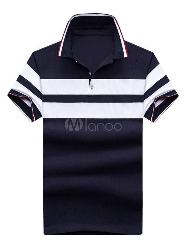 Men Polo Shirt Stripe Cotton Top Slim Fit Men Casual T Shirt Short Sleeve