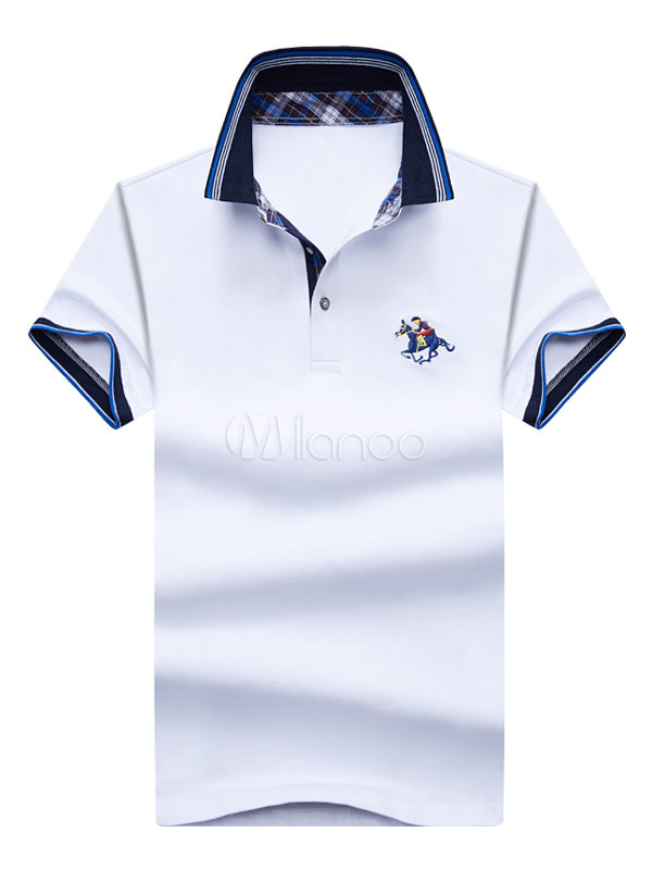 Casual Polo Shirt Embroidery Turndown Collar Cotton Top For Men Short Sleeve T Shirt