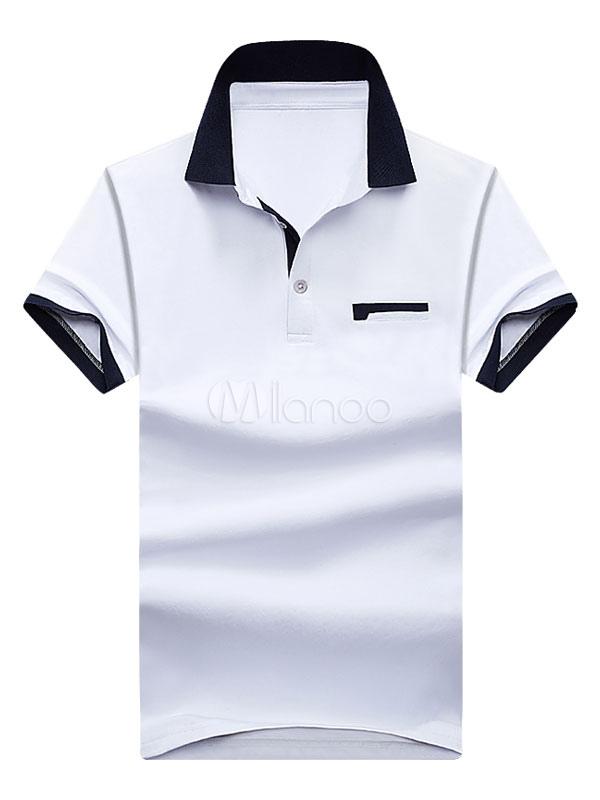 White Polo Shirt Turndown Collar Short Sleeve Slim Fit T Shirt For Men