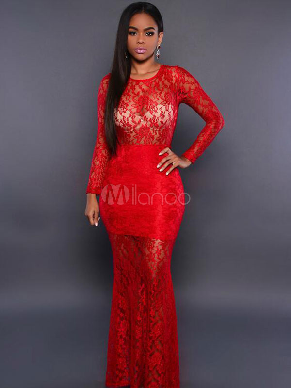 Buy Red Lace Dress Round Neck Long Sleeve Semi-Sheer Slim Fit Maxi Dress for $26.99 in Milanoo store