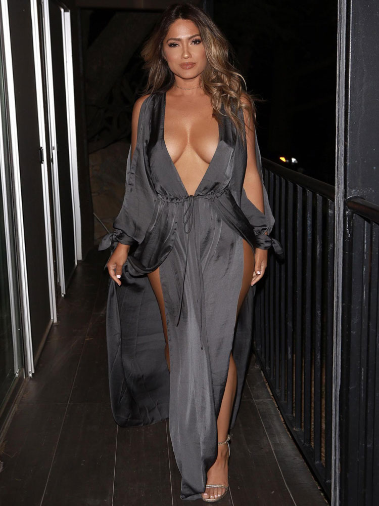Women Maxi Dress Deep V Split Sexy Going Out Party Dress