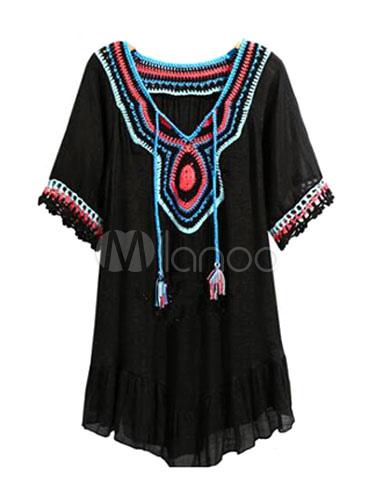 Buy Boho Shift Dress Women's V Neck Half Sleeve Embroidered Short Dress for $23.74 in Milanoo store