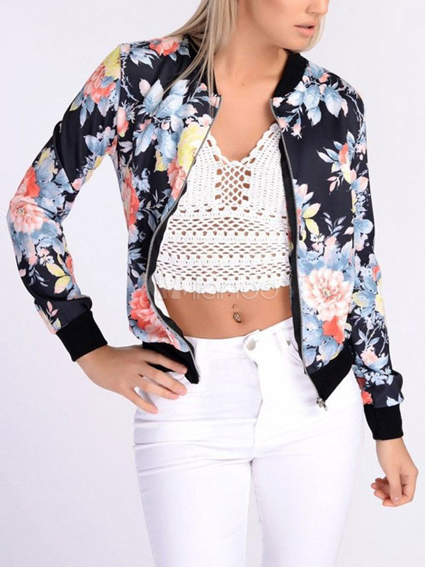 Women Spring Jacket Floral Print Long Sleeve Short Lightweight Jacket Cheap clothes, free shipping worldwide